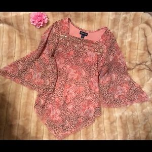 LIMITED TOO coral leopard & paisley top